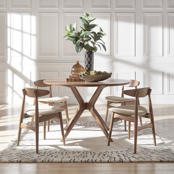 Curved Back Dining Room Bench: Nadine Walnut Finish Round Dining Set