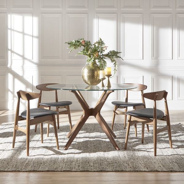 Shiro Walnut Dark Wood Modern Furniture Large Dining Table: Shop Nadine Walnut Finish Glass Table Top Round Dining Set