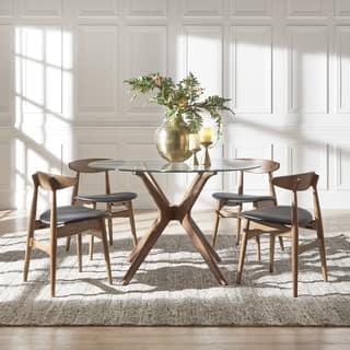 Nadine Walnut Finish Glass Table Top Round Dining Set - Curved Back Chairs by iNSPIRE Q Modern|https://ak1.ostkcdn.com/images/products/18218122/P24360000.jpg?impolicy=medium