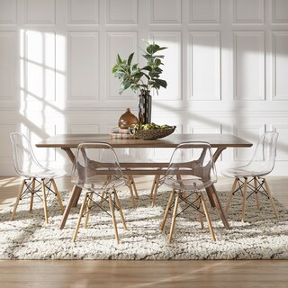 Nadine Walnut Finish Rectangular Dining Set   Clear Chairs By INSPIRE Q  Modern