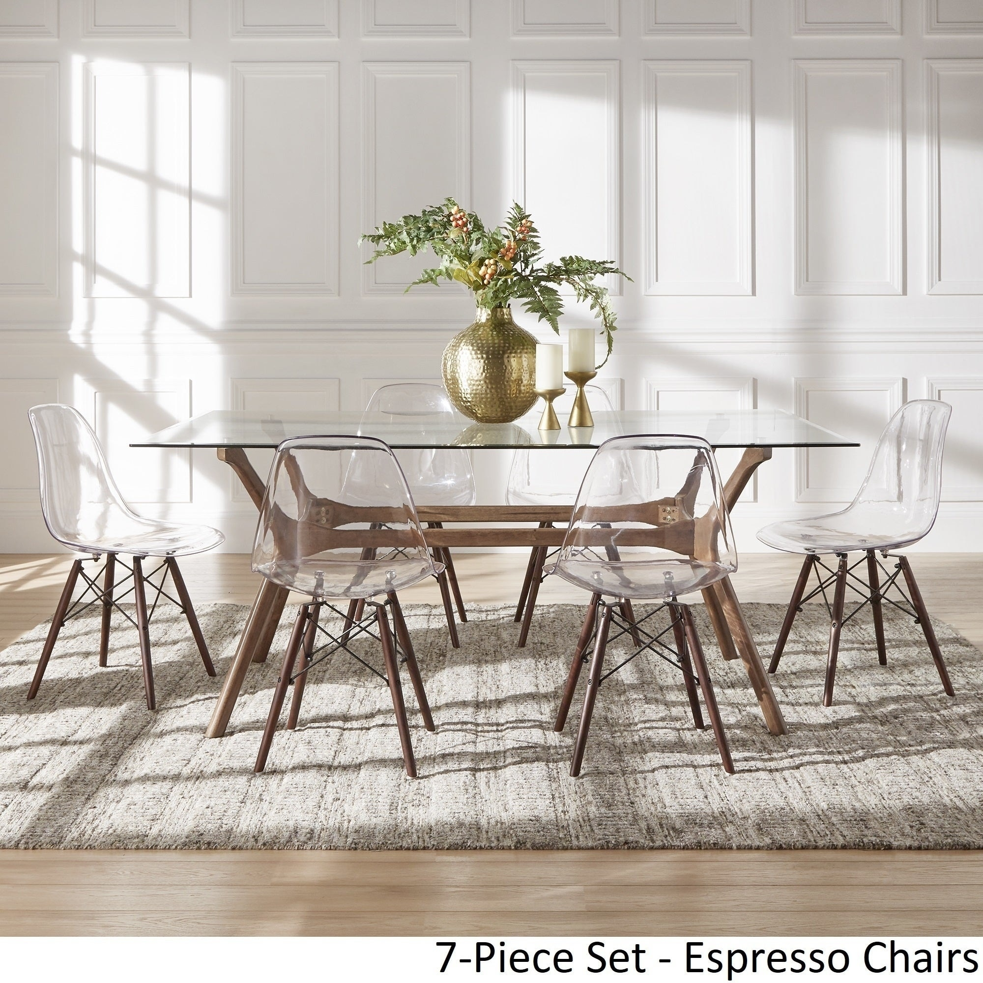 Nadine Walnut Finish Glass Table Top Rectangular Dining Set Clear Chairs By Inspire Q Modern Overstock 18218125