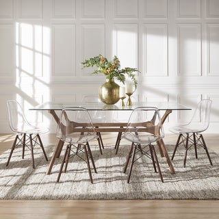 Nadine Walnut Finish Glass Table Top Rectangular Dining Set - Clear Chairs by iNSPIRE Q Modern