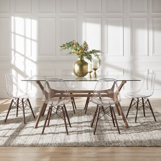 Nadine Walnut Finish Glass Table Top Rectangular Dining Set   Clear Chairs  By INSPIRE Q Modern