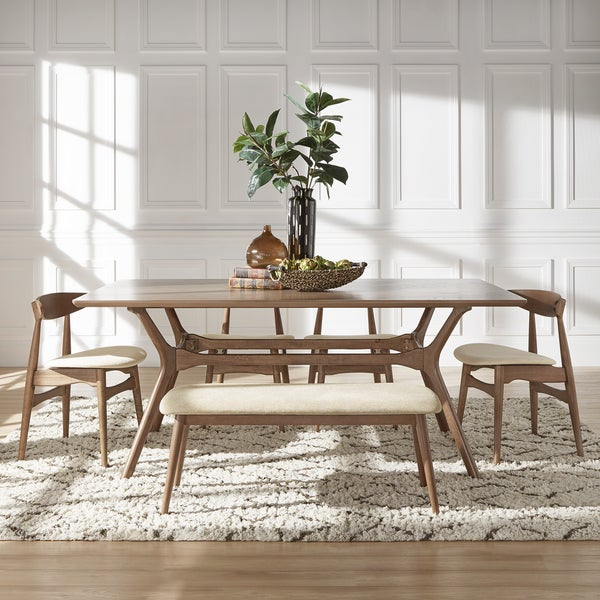 Nadine Walnut Finish Rectangular Dining Set Curved Back Chairs By Inspire Q Modern