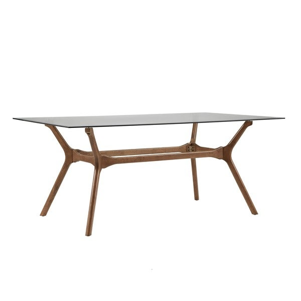 Nadine Walnut Finish Glass Table Top Rectangular Dining Set   Curved Back  Chairs By INSPIRE Q Modern   Free Shipping Today   Overstock.com   24360004