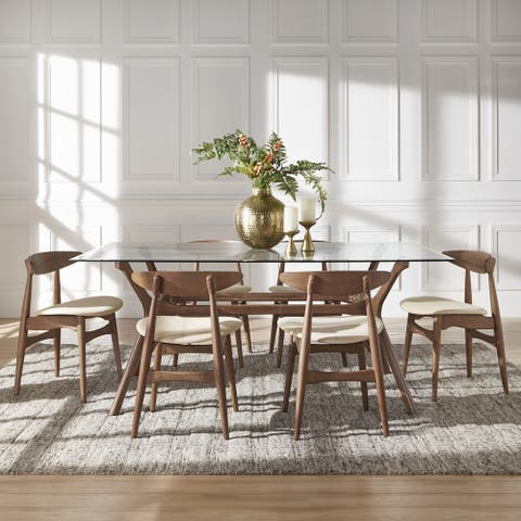 Nadine Walnut Finish Glass Table Top Rectangular Dining Set - Curved Back Chairs by iNSPIRE Q Modern