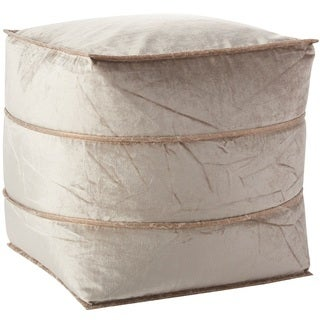 """Inspire Me! Home Décor Pleated Leather Beige Cube (18"""" x 18"""") by Nourison"""