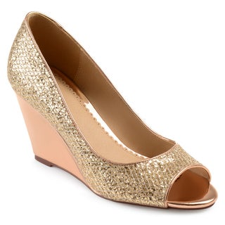Journee Collection Women's 'Selma' Open-toe Metallic Glitter Wedges