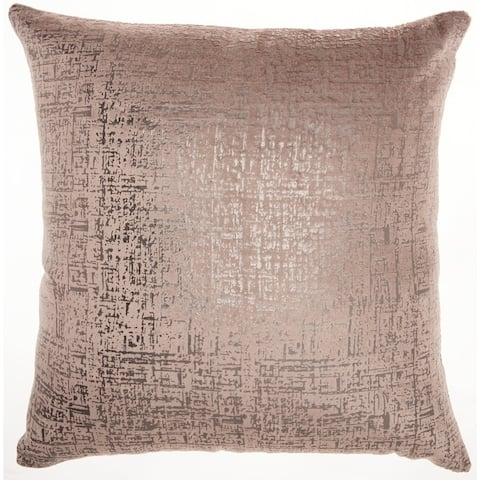 "Inspire Me! Home Décor Distressed Metallic Nude Throw Pillow (24"" x 24"" ) by Nourison"