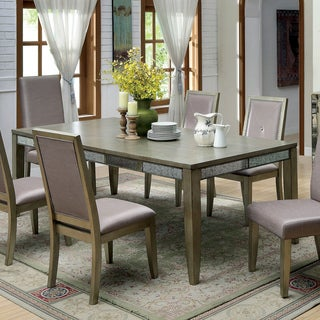 Furniture of America Alera Contemporary Antique Gold 90-inch Dining Table with 18-inch Leaf