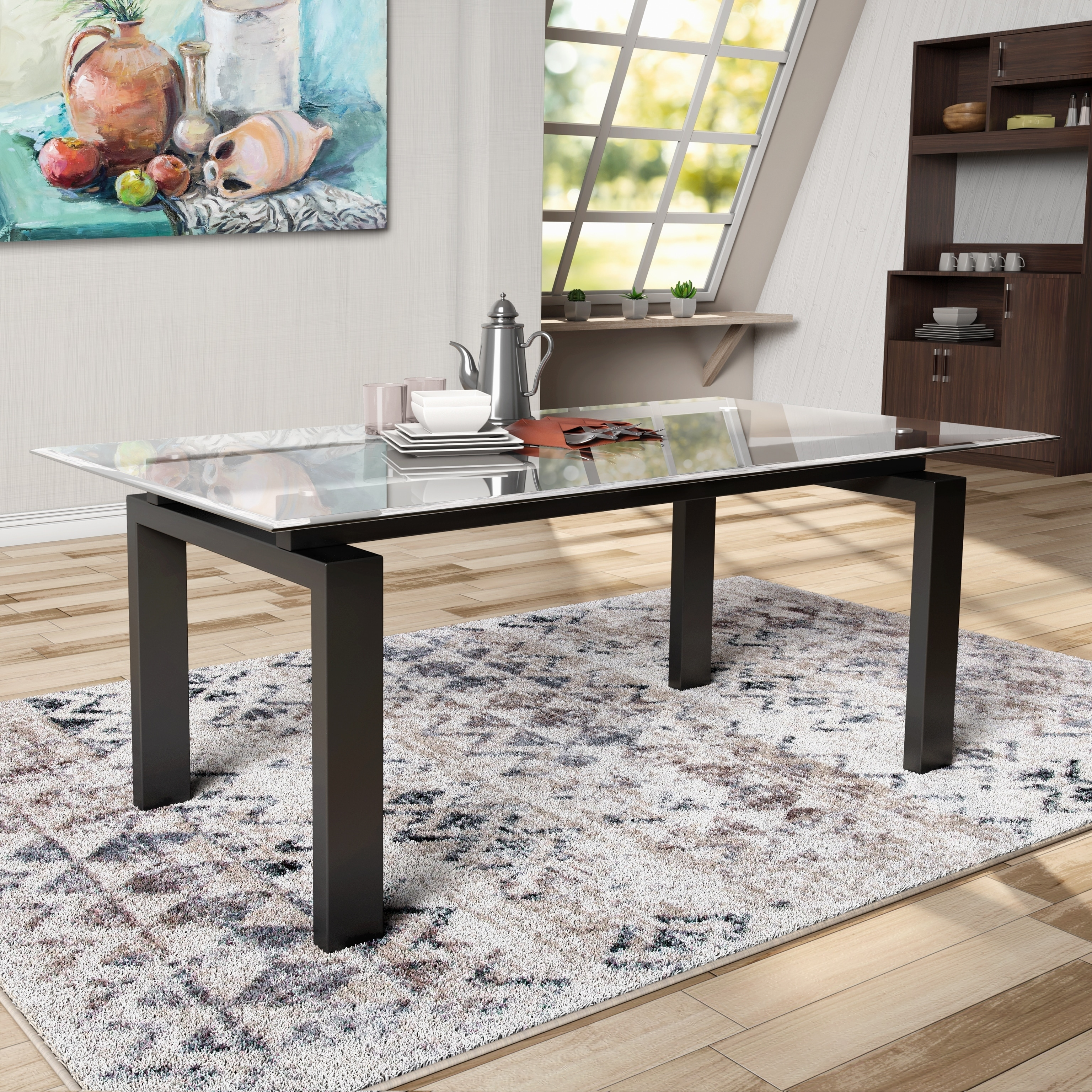 Furniture Of America Serafin Contemporary Glass Top Dark Walnut - Dark walnut dining table and chairs