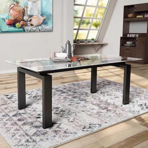 Serafin Contemporary Glass Top Dark Walnut Dining Table by FOA