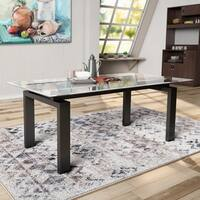 Furniture of America Serafin Contemporary Glass Top Dark Walnut Dining Table