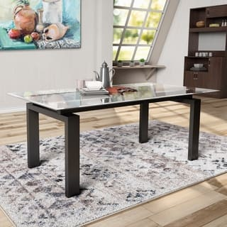 rectangle glass dining room table. Furniture Of America Serafin Contemporary Glass Top Dark Walnut Dining Table  Rectangle Kitchen Room Tables For Less Overstock