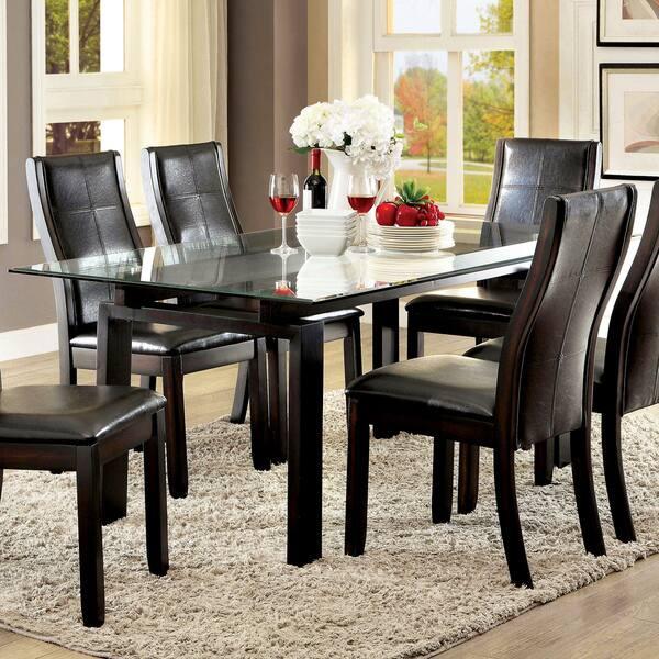 Serafin Contemporary Gl Top Dark Walnut Dining Table