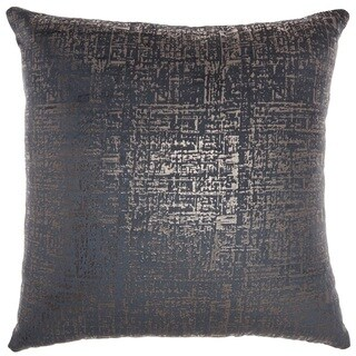 """Inspire Me! Home Décor Distressed Metallic Midnight Throw Pillow  (18"""" x 18"""") by Nourison"""