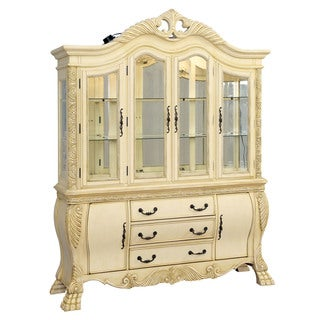 Furniture of America Beaufort Solid Wood Formal Vintage White China Cabinet