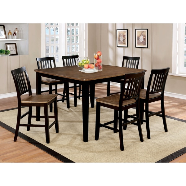 Furniture Of America Fresial 7 Piece Rustic Oak/Espresso Counter Height  Dining Set