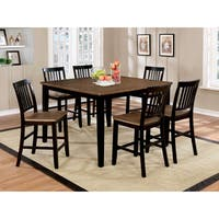 Furniture of America Fresial 7-piece Rustic Oak/Espresso Counter Height Dining Set