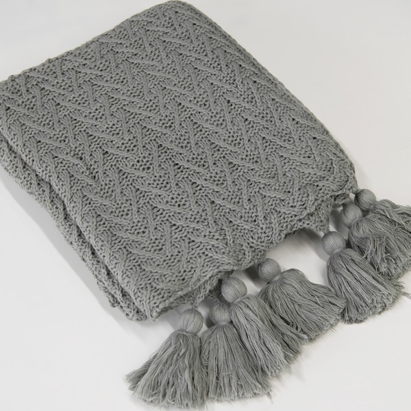 shop aurora home knit tassel acrylic throw blanket on sale free shipping on orders over 45. Black Bedroom Furniture Sets. Home Design Ideas