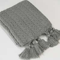 Aurora Home Knit Tassel Acrylic Throw Blanket