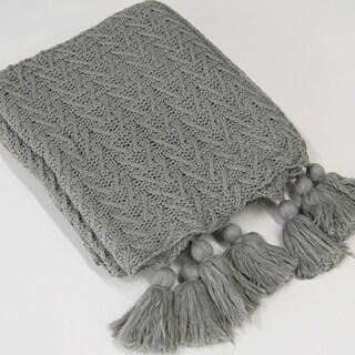 Aurora Home Knit Tassel Acrylic Throw Blanket