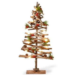 "Pre-Lit 23"" Wood Look Holiday Tree"