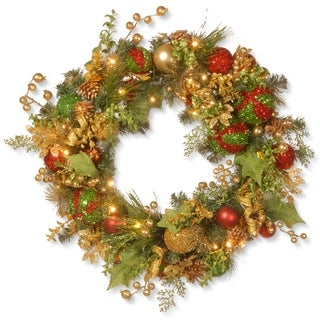 """30"""" Decorated Christmas Wreath with Battery Operated LED Lights"""