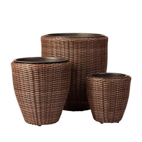 Tondo 3-Piece Wicker Planter Set
