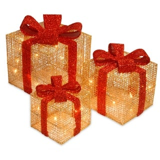 Pre-Lit Gold Thread Gift Box Assortment
