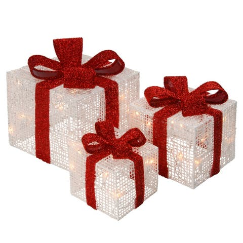 Pre-Lit White Thread Gift Box Assortment
