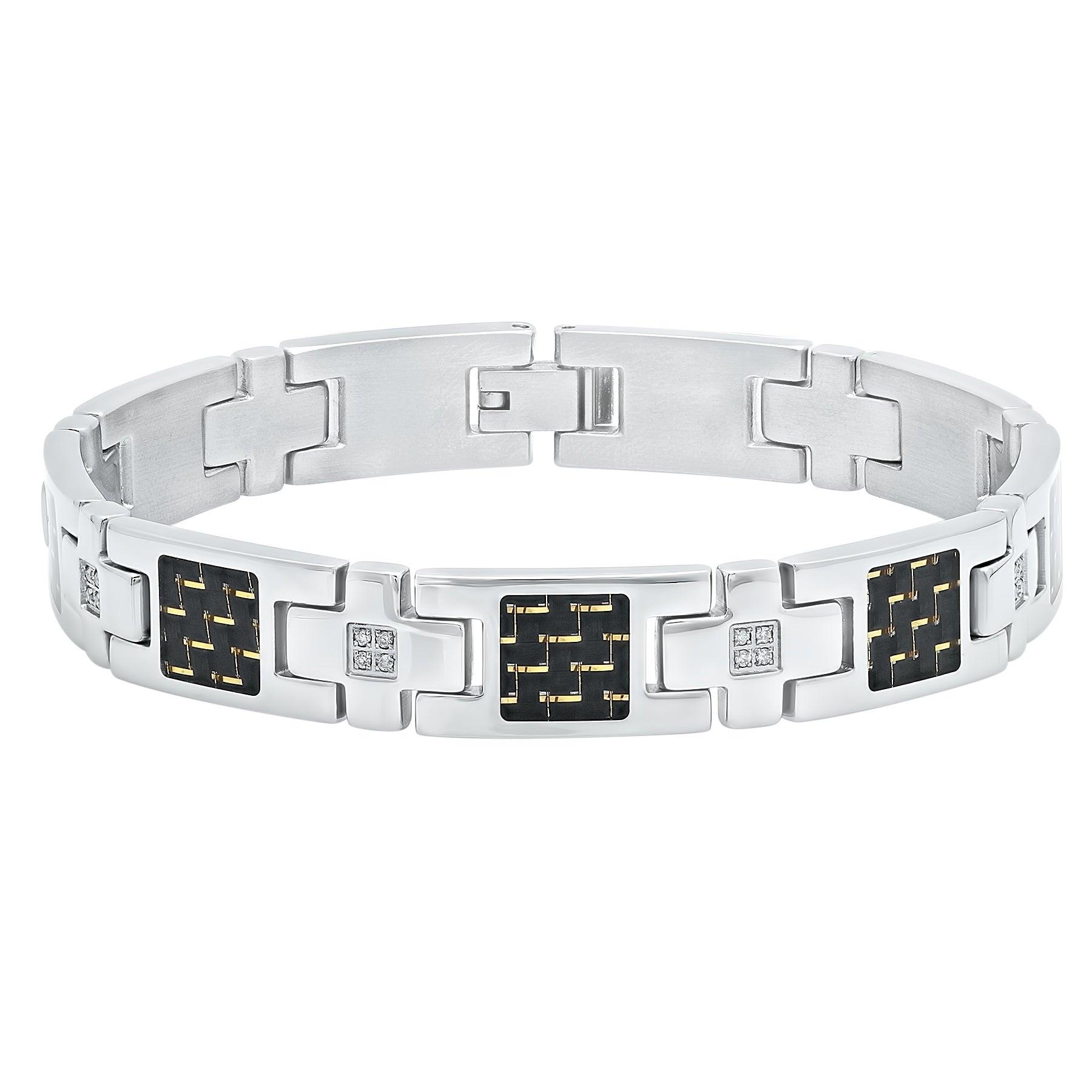 Men/'s Stainless Steel Carbon Diamond Bracelet