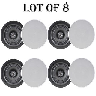"""Pyle PDIC66 6.5"""" In-Wall / In-Ceiling Dual Stereo Speakers, 200 Watt, 2-Way, Flush Mount, White- 4 Pairs"""