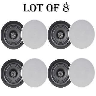 "Pyle PDIC66 6.5"" In-Wall / In-Ceiling Dual Stereo Speakers, 200 Watt, 2-Way, Flush Mount, White- 4 Pairs