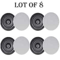 "Pyle PDIC66 6.5"" In-Wall / In-Ceiling Dual Stereo Speakers, 200 Watt, 2-Way, Flush Mount, White- 4 Pairs"