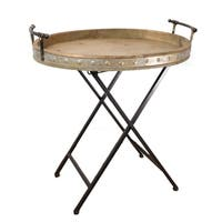 Metal Serving Tray with Stand, Folding Snack Table