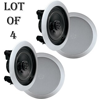 Pyke PDIC51RDSL In-Wall / In-Ceiling Dual 5.25-inch Speaker System, 2-Way, Flush Mount, Silver- 2 Pairs