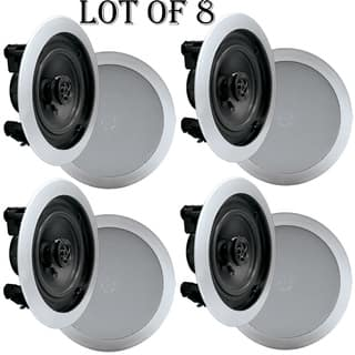 Pyle PDIC51RDSL In-Wall / In-Ceiling Dual 5.25-inch Speaker System, 2-Way, Flush Mount, Silver- 4 Pairs|https://ak1.ostkcdn.com/images/products/18218409/P24360248.jpg?impolicy=medium