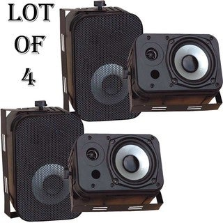 "Pyle PDWR40B 5.25"" Indoor/Outdoor Waterproof Speakers (Black)- 2 Pairs"