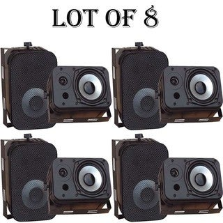 "Pyle PDWR40B 5.25"" Indoor/Outdoor Waterproof Speakers (Black)-4 Pairs"