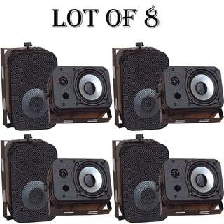 Pyle PDWR40B 5.25 inch Indoor and Outdoor Waterproof Speakers Black 4 Pairs