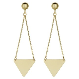 Fremada 14k Yellow Gold Triangle Drop Earrings, 1.5 inches
