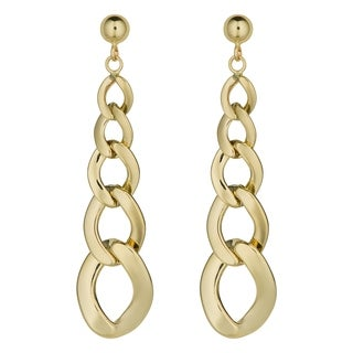 Fremada 14k Yellow Gold Graduated Curb Link Drop Earrings, 1.75 inches
