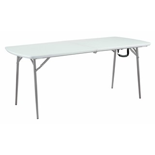 "Blow Molded Plastic Fold In Half Table 30"" x 72"" Specked Grey"