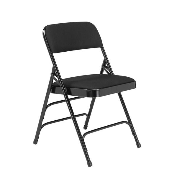 National Public Seat Midnight Black Fabric Upholstered Triple Brace Folding Chair - Set of 4
