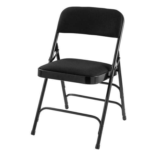 Midnight Black Fabric Upholstered Folding Chair Triple Brace, Carton Of 4