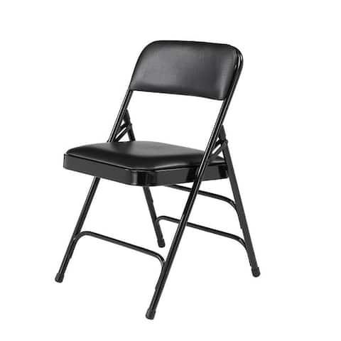 (4 Pack) Vinyl Upholstered Folding Chair with Triple Brace, Black