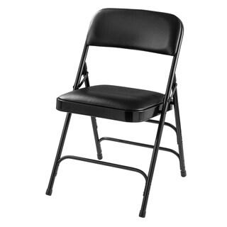 Caviar Black Vinyl Upholstered Folding Chair Triple Brace, Carton Of 4
