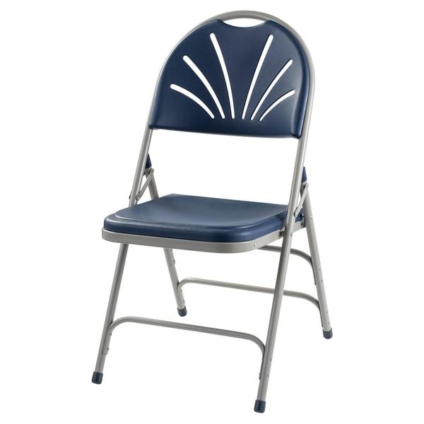 National Public Seat Dark Blue Polyfold Fan Back Triple Brace Folding Chair - Set of 4