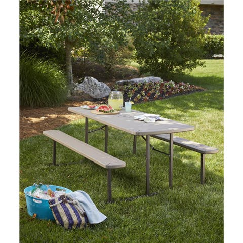 COSCO Outdoor Living Intellifit 6 ft. Folding Blow Mold Picnic Table